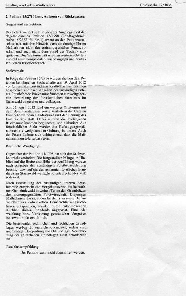 2013-10-11 Antwort Petitionsausschusses auf die zweite Petition