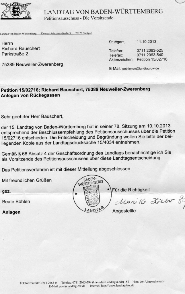 2013-10-11 Begleitschreiben - Antwort auf die zweite Petition