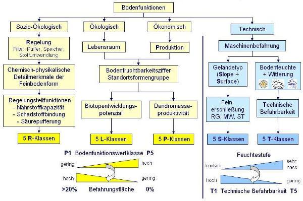 Abb. 3: Forstliche Bodenfunktionsbewertung zur Ableitung von (sozio)ökologischen, ökonomischen und technischen Bodenfunktionsklassen.